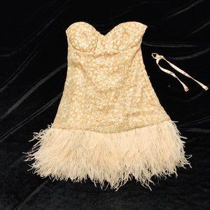 Bebe Formal Strapless Dress w/Feather Bottom